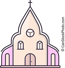 Church chapel building. - Simple vector symbol for sweet...