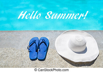 Hello Summer background with hat and flip flops near the pool
