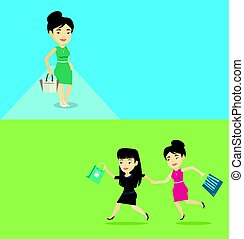 Two shopping banners with space for text. Vector flat...