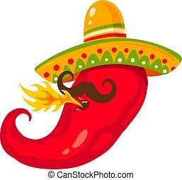 chili pepper in sombreco - Vector illustration of a chili...