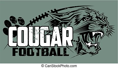 cougar football - distressed cougar football team design...