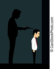 Businessman standing in dark room with his shadow is like bandit holding a gun over his head