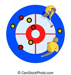 curling players in aerial view - Two curling players, male...