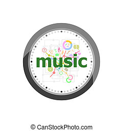 Text Music on digital background. Social concept . Set of modern flat design concept icons for internet marketing. Watch clock isolated on white background