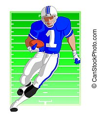 football player running with football with football field in...