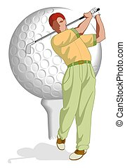 golf player male - golf player, male, in full swing with...