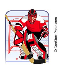 hockey goalie in red uniform with goalie net in background