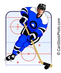 hockey player in blue uniform, with hockey stick and puck,...