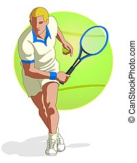 tennis player male - tennis player, male, swinging tennis...