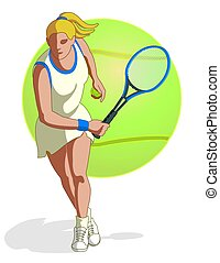 tennis player female - tennis player, female, swinging...