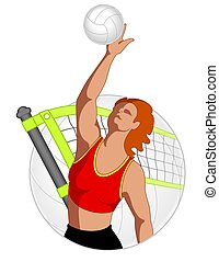 volleyball player female, hitting volleyball with net and...