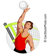 volleyball player male, hitting volleyball with net and ball...