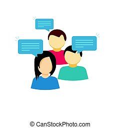 Discussion group vector illustration, flat cartoon style people talking, team dialog communication icon