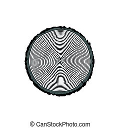 Tree log rings vector icon, tree wooden cross section black texture isolated, wood timber cut