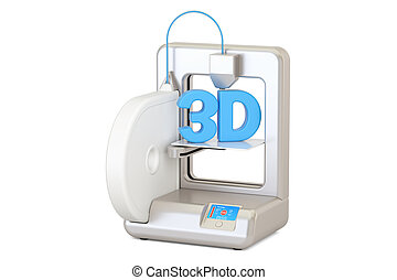 Modern 3D printer, 3D rendering isolated on white background