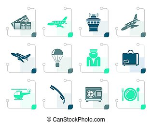 Stylized Airport and travel icons