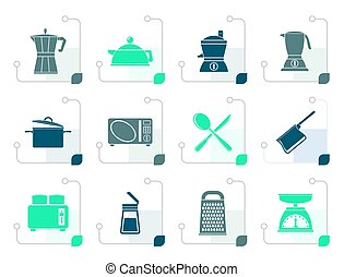 Stylized kitchen and household equipment icon