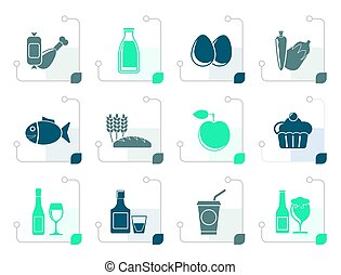 Stylized Food, drink and Aliments icons