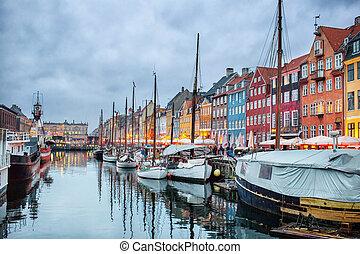Night view of Nyhavn canal, Copenhagen - Night view of...