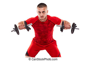 Young man doing shoulder workout - Young man training...