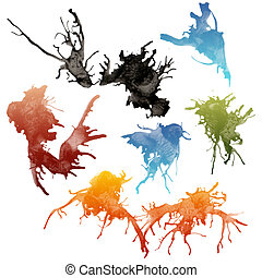 Ink splashes - Colorful bright ink splashes on white...