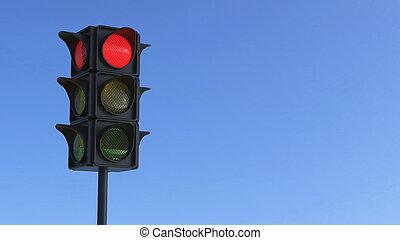 3D illustration red traffic light