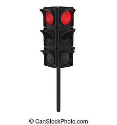 3D illustration red traffic light on a white background