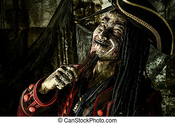 funny and terrible - Portrait of a noble brave dead pirate....