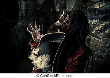 angry dead pirate - Horror novel character. Aggressive angry...