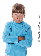 Upset cranky girl standing crossed hands isolated on white...