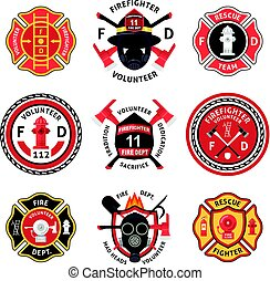 Firefighter Label Set - Firefighter label emblem or sticker...
