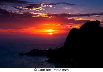 Sunset Behind Rio de Janeiro Mountans