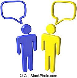 Social media 3D people talk speech bubbles - Two social...