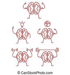 Brain power training vector illustration set