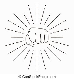 Fist with sunbursts hand silhouette Sport fighter emblem...