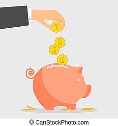 pig moneybox - Pig piggy bank with coins Saving money box...