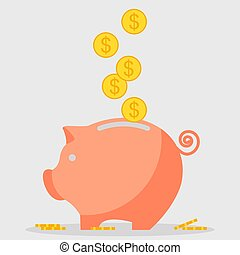 pig moneybox icon - Pig piggy bank with coins Saving money...