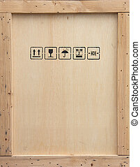 Wooden crate - A wooden packing crate with various packing...