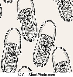 pattern of shoes - sneakers. - Hand drawn sketch seamless...