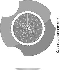 bike wheels glossy web icon button . Trendy flat style sign...