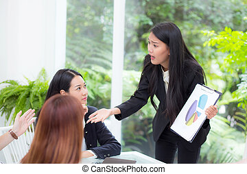 businesspeople looking at businesswoman opinion different his colleague in meeting.