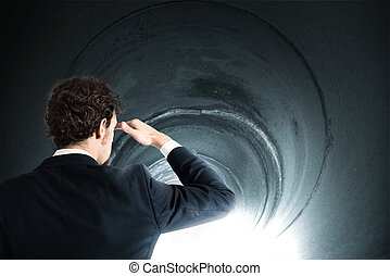 Get out of the tunnel - Determined businessman gets out of...