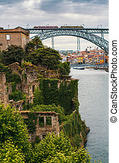 Abandoned ruins on the banks Douro river in heart of old...
