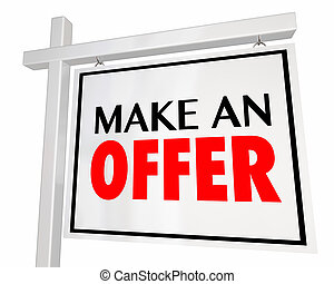 Make an Offer Home for Sale House Real Estate Sign 3d Illustration
