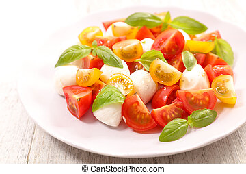 tomato salad with mozzarella and basil