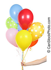 Hand holding balloons on white - Hand holding colorful...