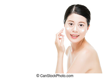 Chinese woman maintain skin great by lotion.