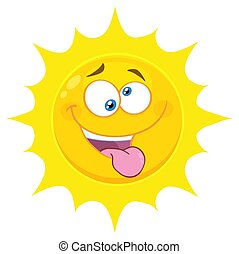Crazy Yellow Sun Cartoon Emoji Face Character With Mad Expression And Protruding Tongue