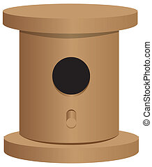 Simple wooden bird house - A simple wooden bird house for...