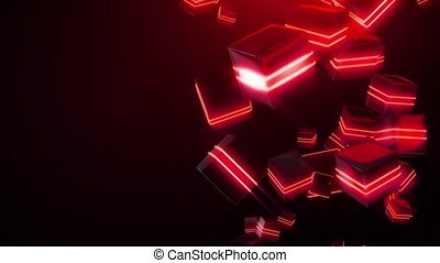 Abstract red neon squares HD